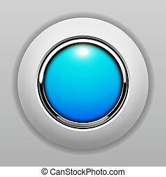 青, ボタン, 3d