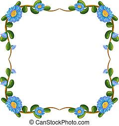 青, ボーダー, 花, デザイン