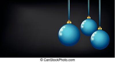 青, ボール, 有色人種, 黒い背景, クリスマス