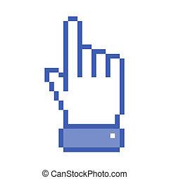 青, ポインター, ピクセル, 手