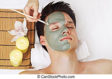 青, マスク, 粘土