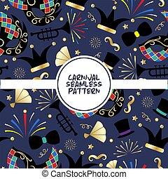 青, マスク, illustration., カーニバル, 道具, パターン, 花火, サーカス, seamless, ポスター, バックグラウンド。, ベクトル, 夜, 紙ふぶき, funfair, 主題, ミュージカル