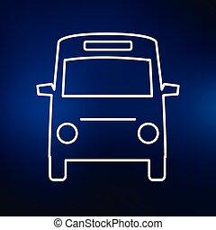 青, ミニ, アイコン, 背景, バス