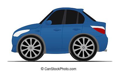 青, ミニ, スポーツ, 自動車