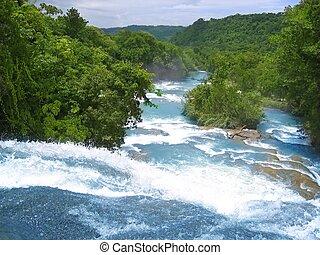 青, メキシコ\, agua, 水, azul, 滝, 川