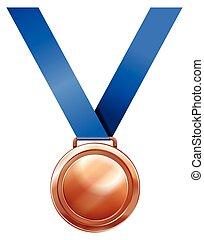 青, メダル, 銅, リボン