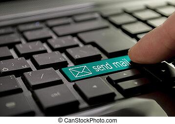 青, メール, ボタン, 送りなさい