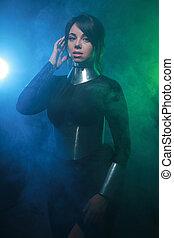青, モデル, 銀, 緑, 未来派, 衣服, 黒, カラフルである, 地位, ファッション, 煙, 身に着けていること