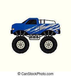青, モンスター, ピックアップ, truck., 自動車, ∥で∥, 大きい, タイヤ, 黒, 染められる, 窓, そして, 銀, 包みなさい, decal., 平ら, ベクトル, アイコン