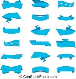 青, ラベル, セット, リボン, vector.