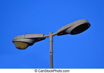 青, ランプ, 通り, 空