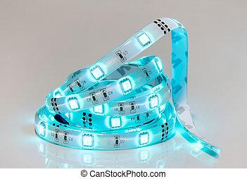 青, リードした, ダイオード, lights., ストライプ, coil.