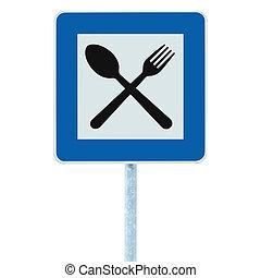 青, レストラン, 棒, roadsign, 印, 交通, ポスト, 道