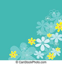 青, レトロ, 花, 手ざわり