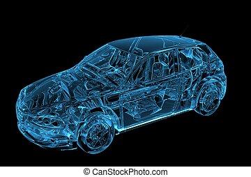 青, レンダリングした, 自動車, x 線, 透明, 3D