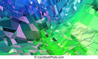 青, レンダリング, v12, 抽象的, 現代, 地勢, poly, 勾配, 緑, colors., 背景, ...