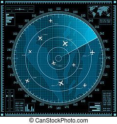 青, レーダー, スクリーン, 飛行機