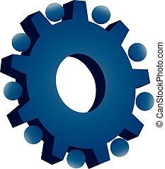 青, ロゴ, チームワーク, ギヤ