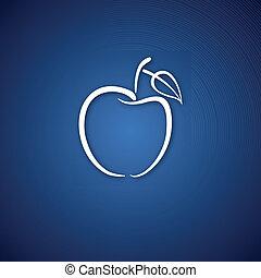 青, ロゴ, 上に, アップル