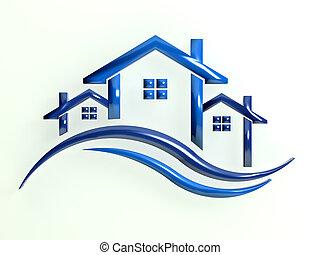 青, ロゴ, 家, 波