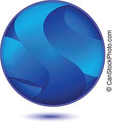青, ロゴ, 抽象的, ベクトル, 地球