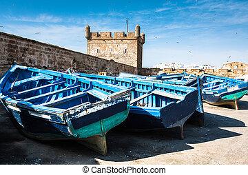 青, ロット, モロッコ, 漁船, essaouira, 港