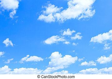 青, ロット, 小さい, 雲, 空