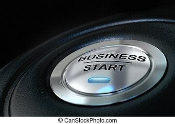 青, 上に, ビジネス, 押された, ボタン, ライト, 始めなさい, 背景, 黒, 新しい, シンボル, ビジネス