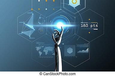 青, 上に, ロボット, 事実上, 手がスクリーンに触れる
