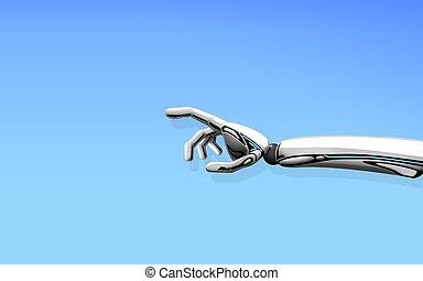 青, 上に, ロボット, 背景, 手