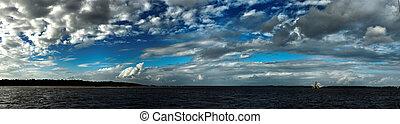 青, 上に, 空の雲, water.