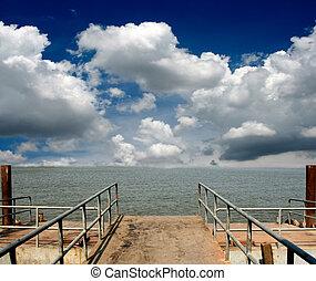 青, 上に, 空, 港, 海