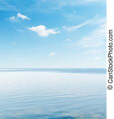 青, 上に, 空, 落ち着いた, 海