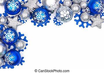青, 上に, 装飾, 銀, コーナー, 白, ボーダー, クリスマス