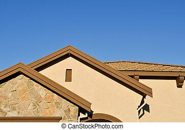 青, 下に, 空, 建設, 新しい 家, 化粧しっくい