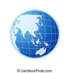 青, 世界地球儀, 2