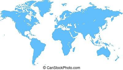 青, 世界, ベクトル, 地図