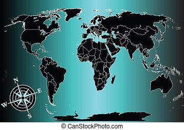 青, 世界, 背景, 地図
