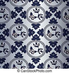 青, 中国語, パターン, シンボル, 伝統的である, 花, 鳥