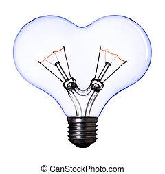 青, 中心の 形, ランプ, 背景, 電球, 白