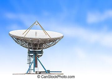 青, 人工衛星, アンテナ, 大きい空, レーダー, 背景, 皿, 草, 大きさ