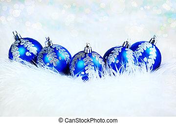 青, 休日, 背景, ボール, 白い クリスマス