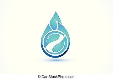 青, 作られた, イメージ, 低下, 水, ベクトル, leafs, ロゴ, アイコン