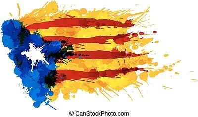 青, 作られた, カラフルである, estrelada, 旗, はねる, カタロニア