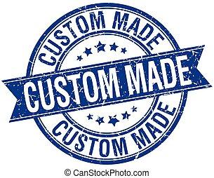 青, 作られた, グランジ, 切手, 隔離された, 習慣, レトロ, リボン