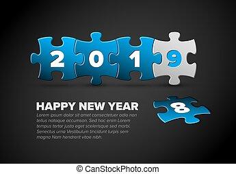 青, 作られた, パズル小片, 年, 新しい, 白, カード