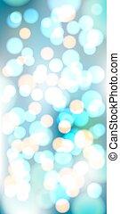 青, 作られた, ライト, lights., bokeh, ベクトル, 背景, 白