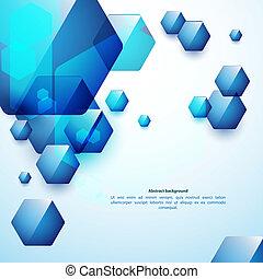 青, 使用, ビジネス, バックグラウンド。, 抽象的, ガラス, presentation., hexahedrons, あなたの