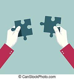 青, 使用, puzzle., 隔離された, バックグラウンド。, 手
