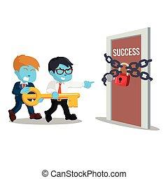 青, 保有物, 成功, キー, ビジネスマン